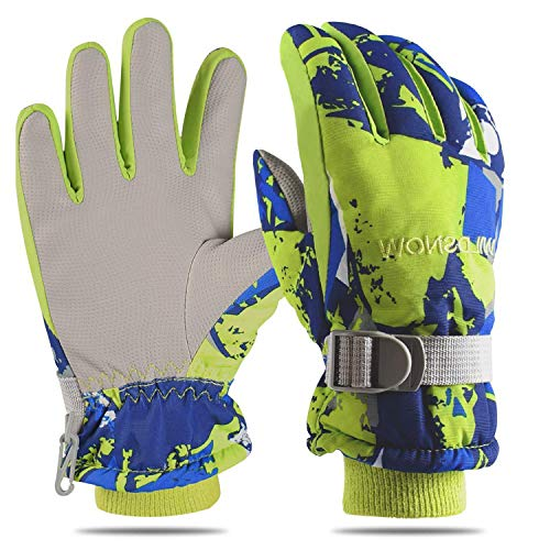Yobenki Ski Gloves, Winter Waterproof Snow Gloves Non-Slip Breathable Cold Weather Gloves for Mens, Womens, Ladies and Kids Skiing,Snowboarding. (Kids-Blue, S for Kids(Fits 4~6 Years Old))