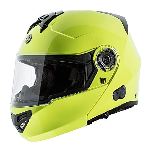 TORC T27 Full Face Modular Helmet with Integrated Blinc Bluetooth (Hi Viz Yellow, Large)