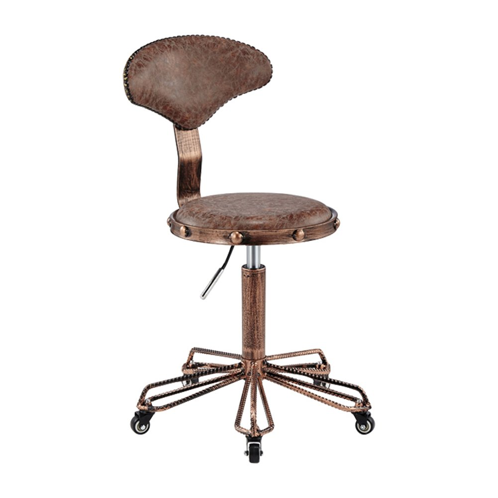 6 50cm bar chair Retro Round Chair Adjustable Swivel Hydraulic Gas Lift Stool for Hairdressing,360 Degree Swivel,Max Weight Capacity 140kg (color   1, Size   50cm)