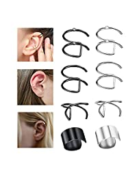 FUNRUN JEWELRY 4/6/ 8 Pairs Stainless Steel Ear Clips Hoop Ear Cuffs Non Piercing Cartilage Cuff Earrings set for Men Women, 4 Various Colors, 6 Various Styles