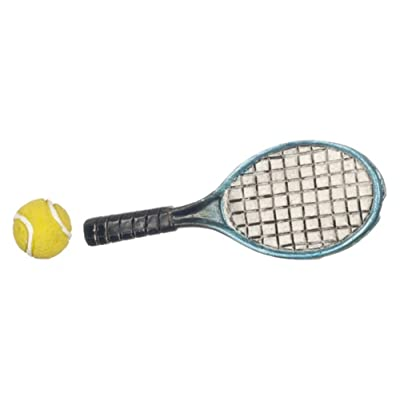 Dollhouse Miniature Tennis Racket & Ball by Falcon Miniatures: Toys & Games