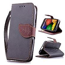 Moto E Case,XYX [Kickstand] Moto E (1st Gen) Case [Black Leaf Buckle][Card Slot][Slim Fit][Wallet][Wrist Strap] Premium Protective Case for Motorola Moto E (1st Gen) [Black]
