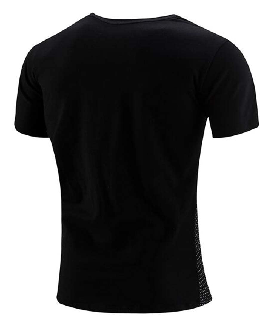 Domple Mens Relaxed Fit Color Block Short Sleeve Round Neck Casual T-Shirt Tee Top