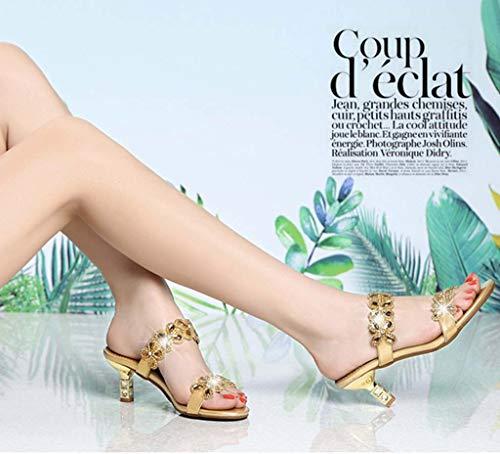 Con Diamantes Y Hrn Piel Gold Verano Zapatillas Elegantes Mujer Diamante Medio Imitación Sandalias De Tacón Aw8w1qHF