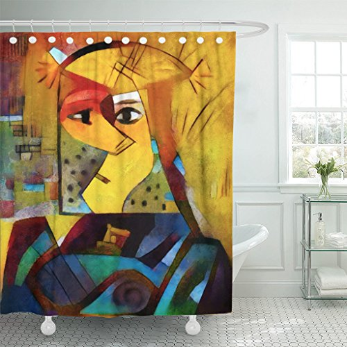 TOMPOP Shower Curtain Alternative Reproductions of Famous Paintings by Picasso Applied Abstract Waterproof Polyester Fabric 60 x 72 Inches Set with Hooks