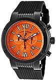 Swiss Legend Men's 10006-BB-06 Legato Cirque Chronograph Orange Textured Dial Black Silicone Watch by Swiss Legend