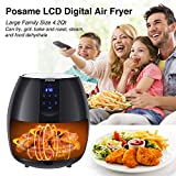 Air Fryers, POSAME 1500W Air Fryer XL 4.2 QT Black LCD Digital Touch Screen Oilless Airfryer for Healthier Crisp Foods, Anti-scratch and Easy Clean Design, Auto Off and Memory Function