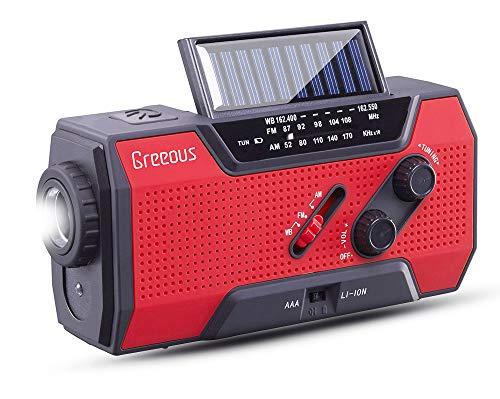 Solar Radio, Hurricane Weather Radio,Waterproof, Hand Crank, Solar/Battery Powered, 2000mAh NOAA/AM/FM/WB/SOS Alert,Cellphone Charger,Portable Emergency kit,Flashlight& Reading Lamp,Red,Greeous