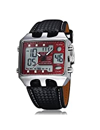 OHSEN Dual Time Big Face Red Dial Analog Digital ALM Chime Day Date LED Mens Quartz Watch