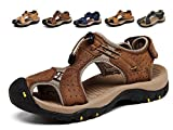 Asifn Athletic Sport Sandals Outdoor Men Summer Fisherman Beach Leather Casual Shoes Breathable Strap Hiking Walking(10.5-11 M US,28 cm Heel to Toe D-Brown