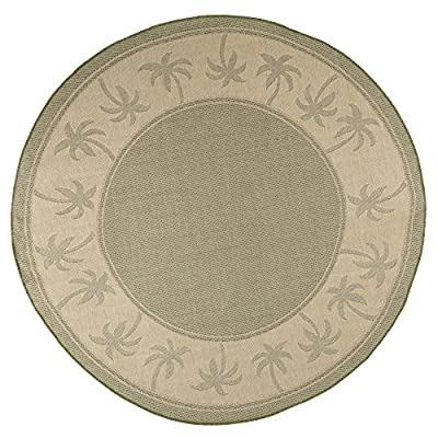 Round Area Rug, 8 Foot Stain Resistant Indoor Outdoor Round Rug With Palm Tree Design By Lavish Home (Green and Beige) (Accent Rug for Home Décor)