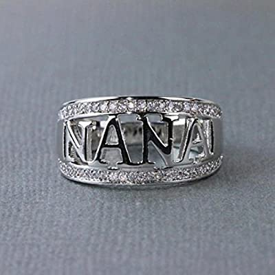 Clearance Rings Daoroka Exquisite Nana Ring Cubic Zirconia Diamond Nana Birthday Present Jewelry Gift