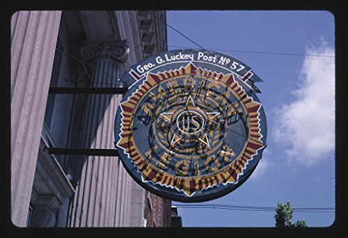 16 x 24 Gallery Wrapped Framed Art Canvas Print of American Legion neon Sign, Vinton, Iowa 2003 Roadside Americana Ready to Hang 30a