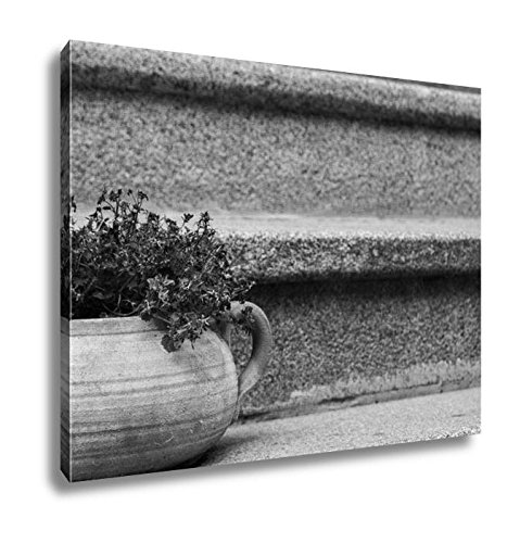 (Ashley Canvas Small Blue Flowers In A Clay Pot On An Old Ladder, Kitchen Bedroom Living Room Art, Black/White 24x30, AG5401696)