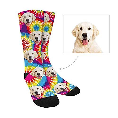 Custom Print Your Face Socks, Turn Your Photo into Tie Dye Flowers Crew Socks Unisex