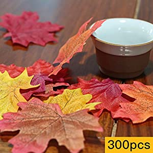 AmyHomie 300 Artificial Maple Leaves in a Mixture Colors Autumn Table Scatters for Fall Weddings & Autumn Parties, 6 1