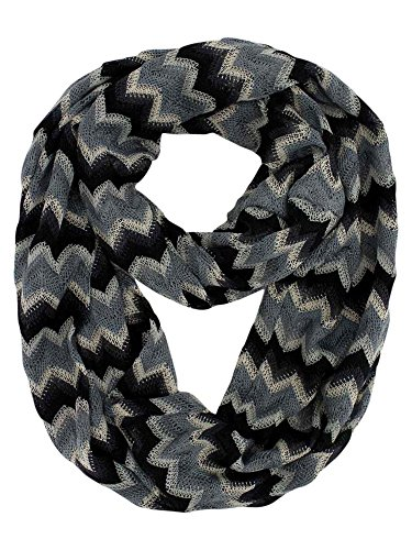 Gray Multicolor Zigzag Striped Infinity Scarf
