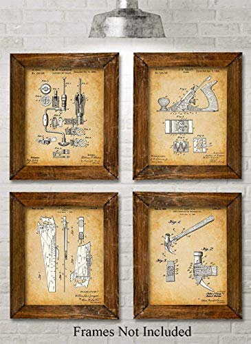 - Original Woodworking Tools Patent Prints - Set of Four Photos (8x10) Unframed - Makes a Great Gift Under $20 for Carpenters and Woodworkers