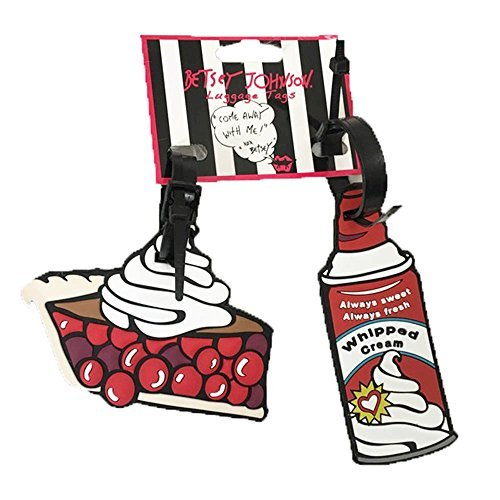 Betsey Johnson 2‑piece Set Rubber Luggage Tags Pie & Whipped Cream - Betsey Johnson 2 Piece