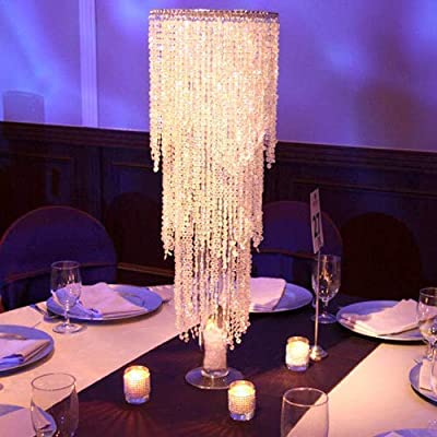 """WeddingDecorStore 30"""" Tall, 3 Tier Iridescent Acrylic Crystal Chandelier Centerpiece for Weddings, Events, Party Table Centerpieces"""
