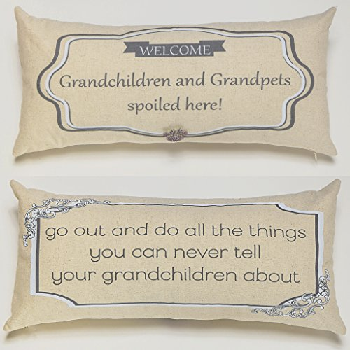 Evelyn Hope Collection Grandparent Gift Funny Quote Throw Pillow Paw Pin Set-Gift for Grandparents,Gift from Grandchildren,Grandparent Sign,Grandparent Messages,Grandma Gift,Grandpa Gift ()