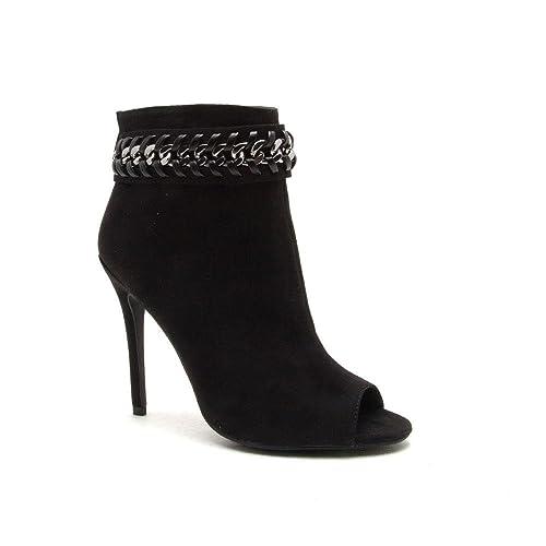 Qupid Black Suede Peep Toe High Heel Chain Link Ankle Bootie Ara-371 (6