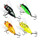 Fishing Lures Insect Cicada with Treble Hooks Swimbaits for Bass Walleyes Trout Freshwater Bait (6g/0.2oz,pack of 4) Review