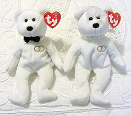 09eb8126206 Amazon.com  Ty Beanie Baby Mr and Mrs Bear Bride and Groom Wedding Teddy  Set of 2  Toys   Games