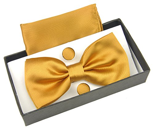 HYACINTH Men's Solid Pre-tied Bow Tie & Handkerchief & Cufflinks Set (Solid Gold Cufflinks)