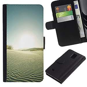 Planetar® Modelo colorido cuero carpeta tirón caso cubierta piel Holster Funda protección Para Samsung Galaxy Note 4 IV / SM-N910 ( Gobi Desert )