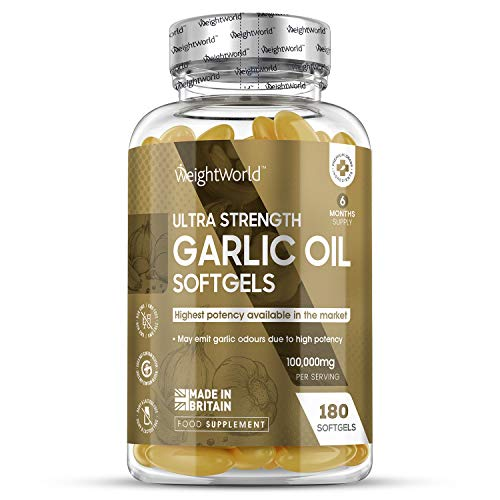 High Strength Garlic Oil Capsules – 100,000mg – 180 Capsules (6 Month Supply) – Garlic Oil High Strength Supplement, Allicin Health Booster, Fresh Liquid Garlic Relief, Blood, HDL & LDL, Immune System