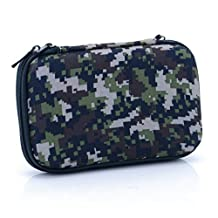 U-TIMES Hard Drive Case,Camouflage Rectangle EVA Shell Carrying Bag for Cell Phone,SSD,External Battery,iPod Touch,Game Pad,Charging Cable(Forest Green)