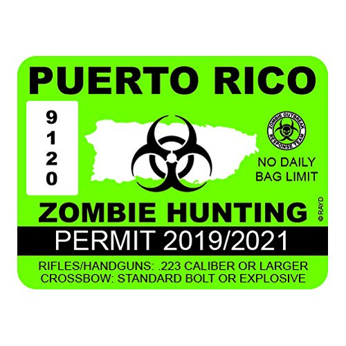 Puerto Rico Zombie Hunting Permit - Color Sticker - Decal - Die Cut - Size: 13.33