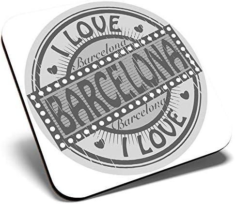 Gran posavasos cuadrado BW – I Love Barcelona España sello de ...
