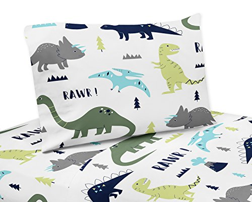 3 Piece Twin Sheet Set for Blue and Green Modern Dinosaur Bedding Collection
