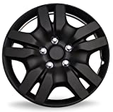 Hubcaps for 16 inch Standard Steel Wheels (Pack of 4) Wheel Covers - Snap On, Matte Black