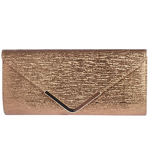 - Digabi Simple Fashion Design Rectangle Shape women Leather Clutch Bags (One Size : 11.8X5.5X1.8 IN, Deep Gold)