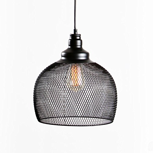 LampLust Hanging Black Metal Mesh Pendant with 1 Vintage Bulb Included, Single-Bulb, Hanging Cage Fixture, UL Listed
