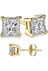 Unisex Gold Overlay 925 Sterling Silver Princess Cubic Zirconia Square White Cz Stud Earrings