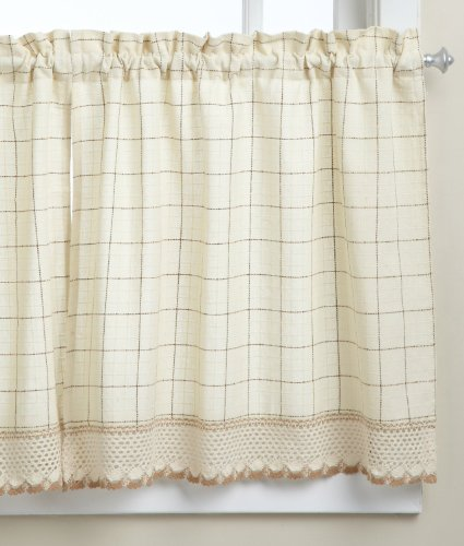 LORRAINE HOME FASHIONS Adirondack Tier Curtain Pair, 60 by 30-Inch, Toast (Tier 30 Curtain)