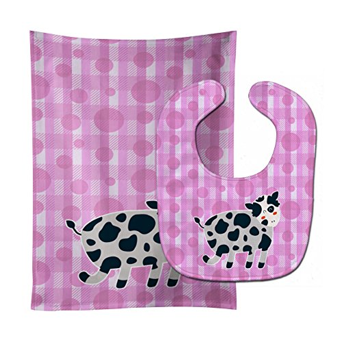 Caroline's Treasures Baby Bib & Burp Cloth, Cow on Pink Polkadots, Large ()