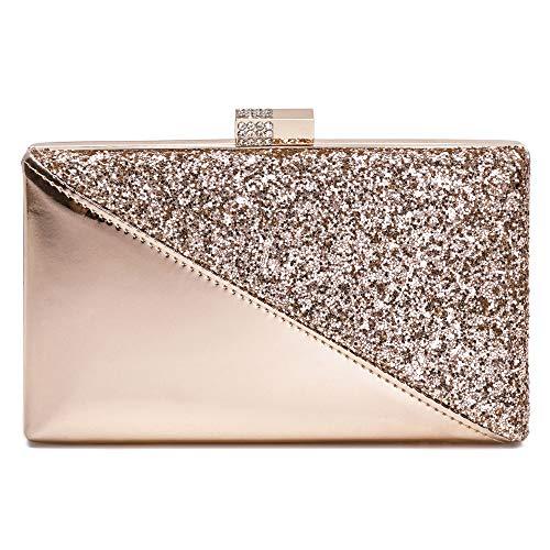 Sparkling Clutch Purse Elegant Glitter Evening Bags Bling Evening Handbag For Dance Wedding Party Prom Bride (Champagne)
