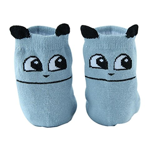 Clearance Sale Baby Boy Girls Cartoon Anti-slip Crew Ankle Socks for Infants Toddlers 1 Pair (Blue, M) ()
