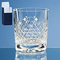 Personalised Engraved Glass Rugby Gift with Rugby Ball Image on a Cut Glass Whisky Tumbler. Includes Free Engraving