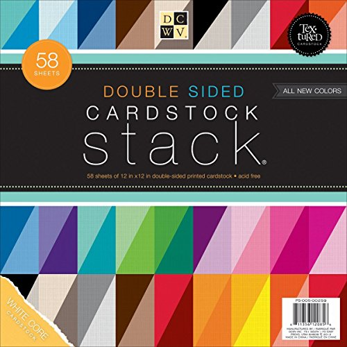 12 Cardstock Multi Pack - DCWV Double Sided Cardstock Stack, Textured, 58 Sheets, 12 x 12 inches