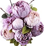 pictures of flower arrangements Duovlo Fake Flowers Vintage Artificial Peony Silk Flowers Wedding Home Decoration,Pack of 1 (New Purple)