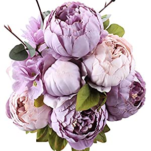 Duovlo Fake Flowers Vintage Artificial Peony Silk Flowers Wedding Home Decoration,Pack of 1 (New Purple) 18