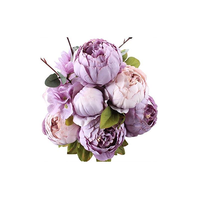 silk flower arrangements duovlo fake flowers vintage artificial peony silk flowers wedding home decoration,pack of 1 (new purple)