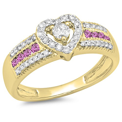Dazzlingrock Collection 14K Pink Sapphire & White Diamond Bridal Heart Shaped Promise Engagement Ring, Yellow Gold, Size 7