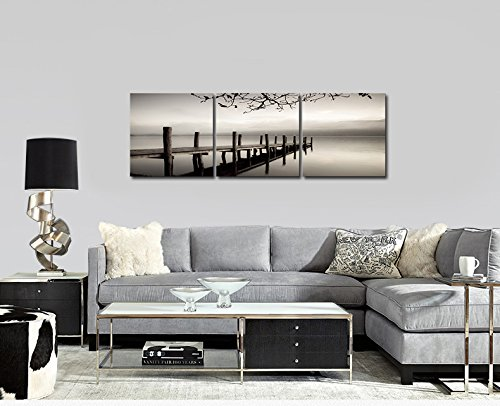 Pyradecor Peace Large Modern 3 Piece B & W Gallery Wrapped Landscapes Giclee Canvas Print Ocean Beach Pictures Paintings on Canvas Wall Art Work for Living Room Kitchen Home Office Decorations